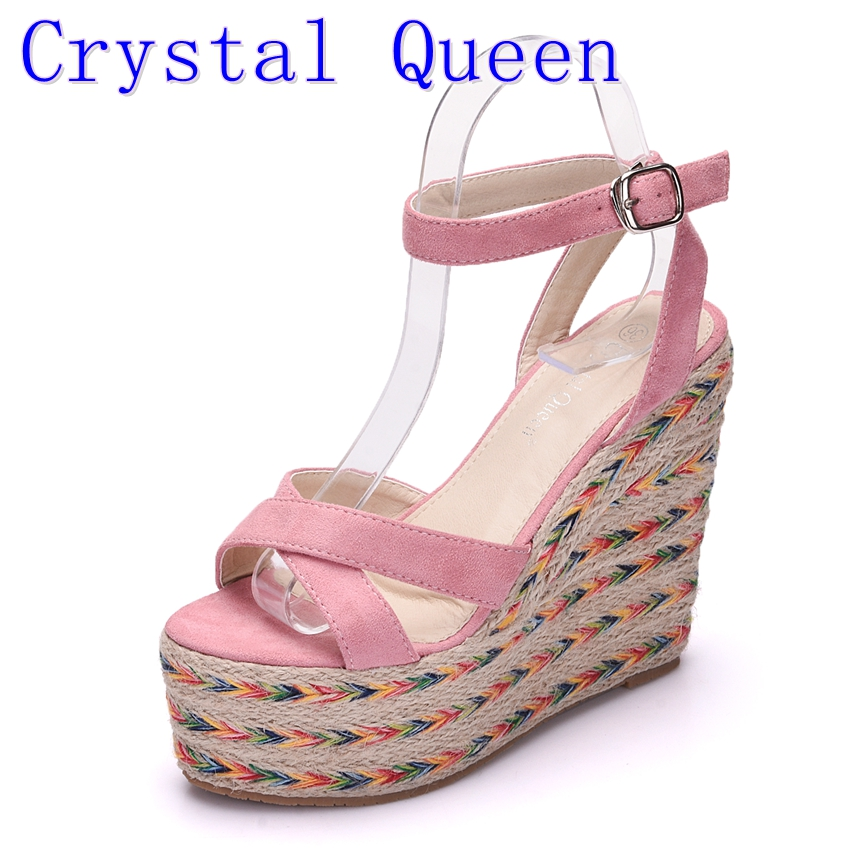 Crystal Queen Women Espadrille Wedges Sandals Roman Bohemian Womens High Heels Open Toe Sandals Ankle Strap Cross-tied Shoes elegant wedges open toe women sandals ankle buckle rivet shoe women cross tied women casual shoes rome hollowed out lady sandals