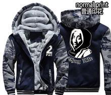Nueva moda hombres mujeres caliente gruesa chaqueta de invierno 2Pac Tupac  Biggie Thug Life hip hop calle sudadera de terciopelo. 256d7195f6f