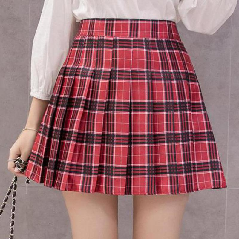 Zuolunouba Summer Women Zipper High Waist Skirt School Girl Faldas Pleated Plaid Skirt Sexy Red Mini Skirt Jupe Femme