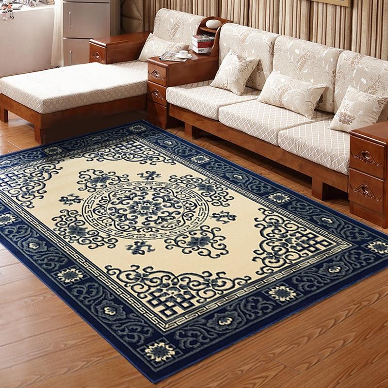 고품질 중국 스타일 녹색 꽃 도자기 카펫 침실 거실 예술적 우아함 직사각형 접지 매트