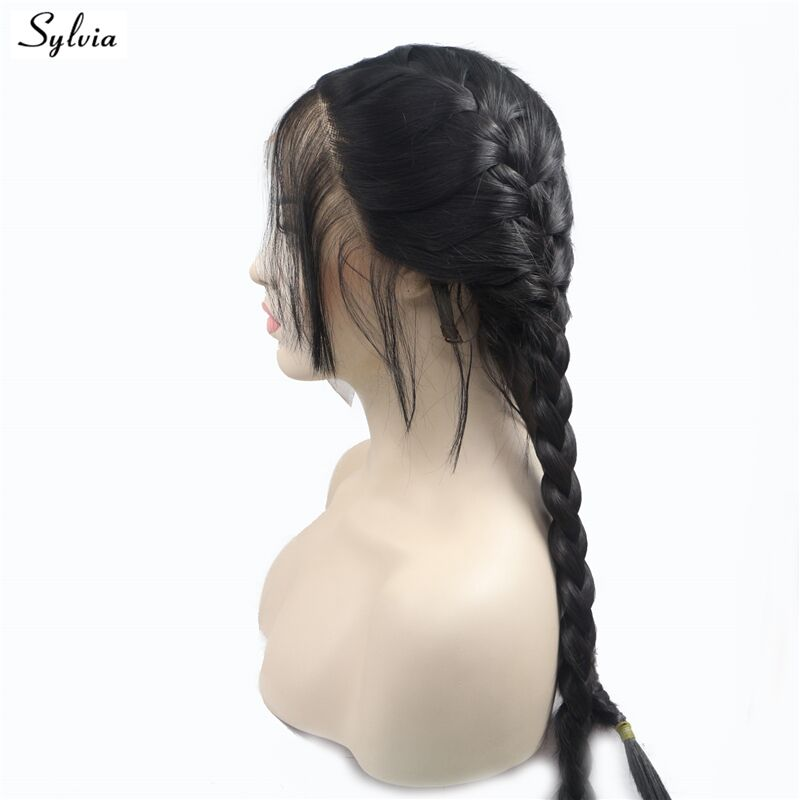 Sylvia Natural 1B Black 2x Twist Braided Wigs with Baby Hair High Temperature Long Synthetic Lace Front 2# Brown