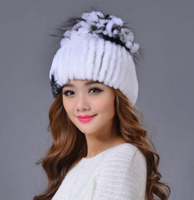 De alta Calidad de Las Mujeres de la Gorrita Tejida 2016 de Invierno de Lujo de Visón Natural de Piel Hecho Punto Sombrero de Mujer de Estilo Europeo Colorido de Ocho Colores Cap Gorros