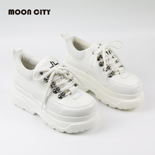New 2019 Spring Casual Shoes High Platform Shoes Woman Fashion Lace-Up White for Women Sneakers Chaussures Femme Chunky Sneakers