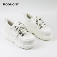 New 2019 Spring Casual Shoes High Platform Shoes Woman Fashion Lace Up White for Women Sneakers Chaussures Femme Chunky Sneakers