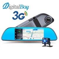 Digitalboy 3G Видеорегистраторы для автомобилей Android 5.0 Системы 7 Bluetooth GPS nagivation fm передатчик двойной Камера Зеркало заднего вида Камера FHD 1080 P