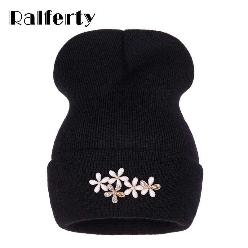 Ralferty Beanies Women's Hats Cap Women Winter Floral Beanie Flower Hat Female Solid Knitted Ski Gorros Skullies Caps Gorras