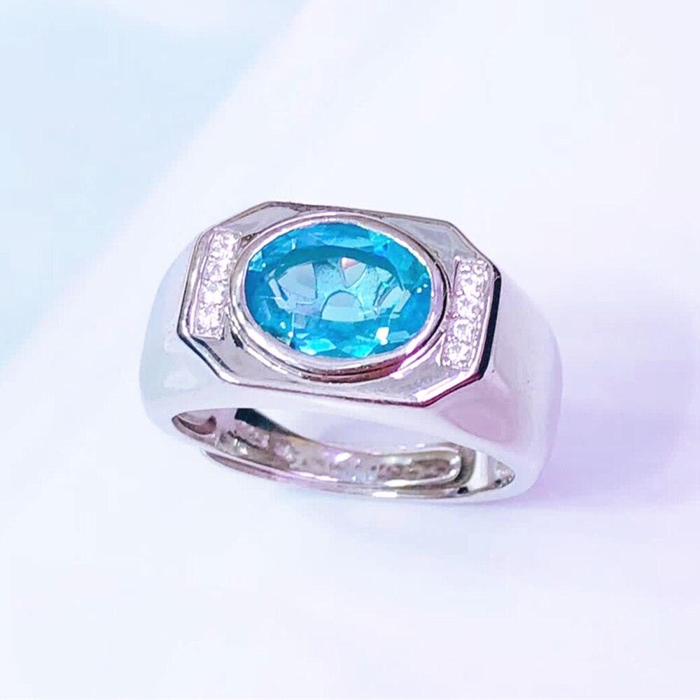 Pierres précieuses bijoux en gros 925 en argent sterling naturel bleu bague topaze pour hommes de mariage fête de fiançailles