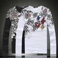 Китайский стиль изысканный печати хлопок высокого качества футболка с длинным рукавом 2016 Весной и Осенью Новый моды случайные т рубашки мужчин M-5XL