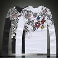 Chinese style exquisite printing cotton high-quality long sleeve t shirt 2016 Spring&Autumn New fashion casual t shirt men M-5XL