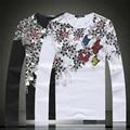 Estilo chinês requintado impressão de algodão de alta qualidade camisa de manga longa t 2016 Primavera & Outono Nova moda casual t shirt dos homens M-5XL