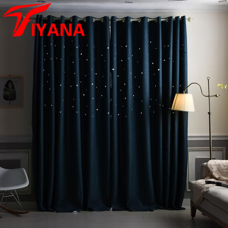 Tiyana solid linen 3d hollow stars shade curtains for kids - Childrens bedroom blackout curtains ...