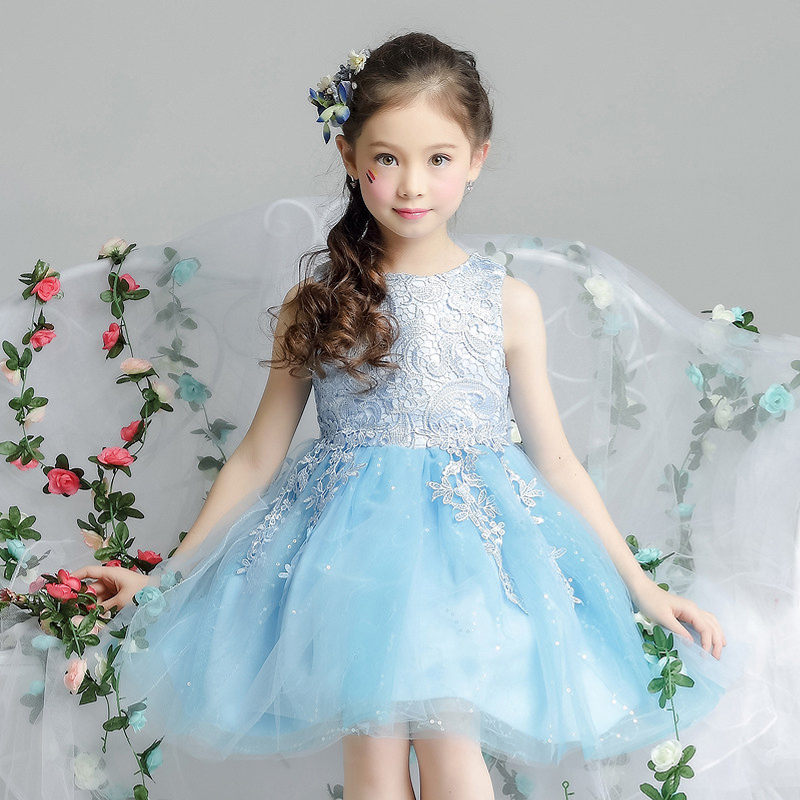 3 Colors Lace Mesh Cute Wedding Party Dresses Kids Girls Dress Summer 2017 New Flower girl