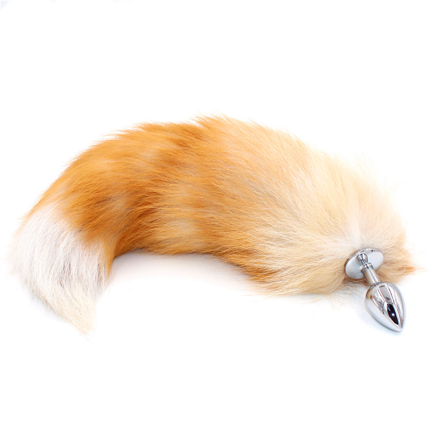 SAIXS Fox Tail Anal Plug With Big Real Crystal Fox Tails Metal Butt Plug Couple Sex Toys Erotic Cosplay Tail Drop Shipping
