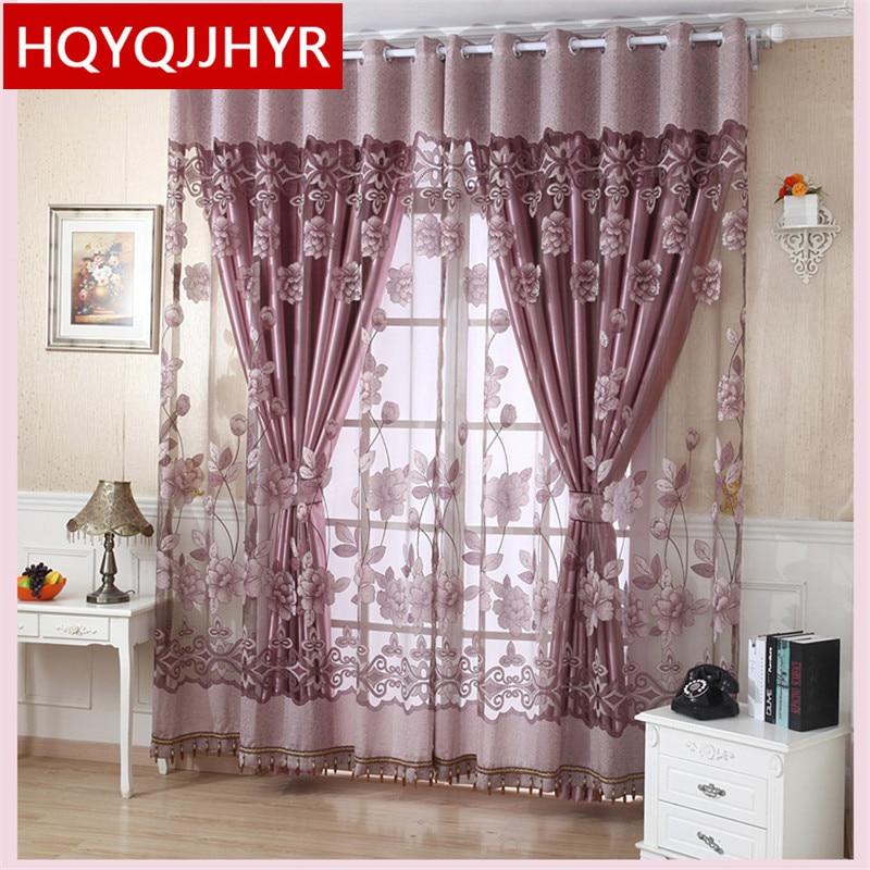 europea de lujo flores ricas cortinas de tul para la sala de estar cortina de ventana cortinas para la cocina dorm