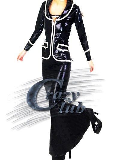 Сумасшедший club_Customized Женщины Латекс Одежда Форменная Фетиш Длинный черный латекс платье длинное платье Резиновые Фетиш Горячие Продажа Бы