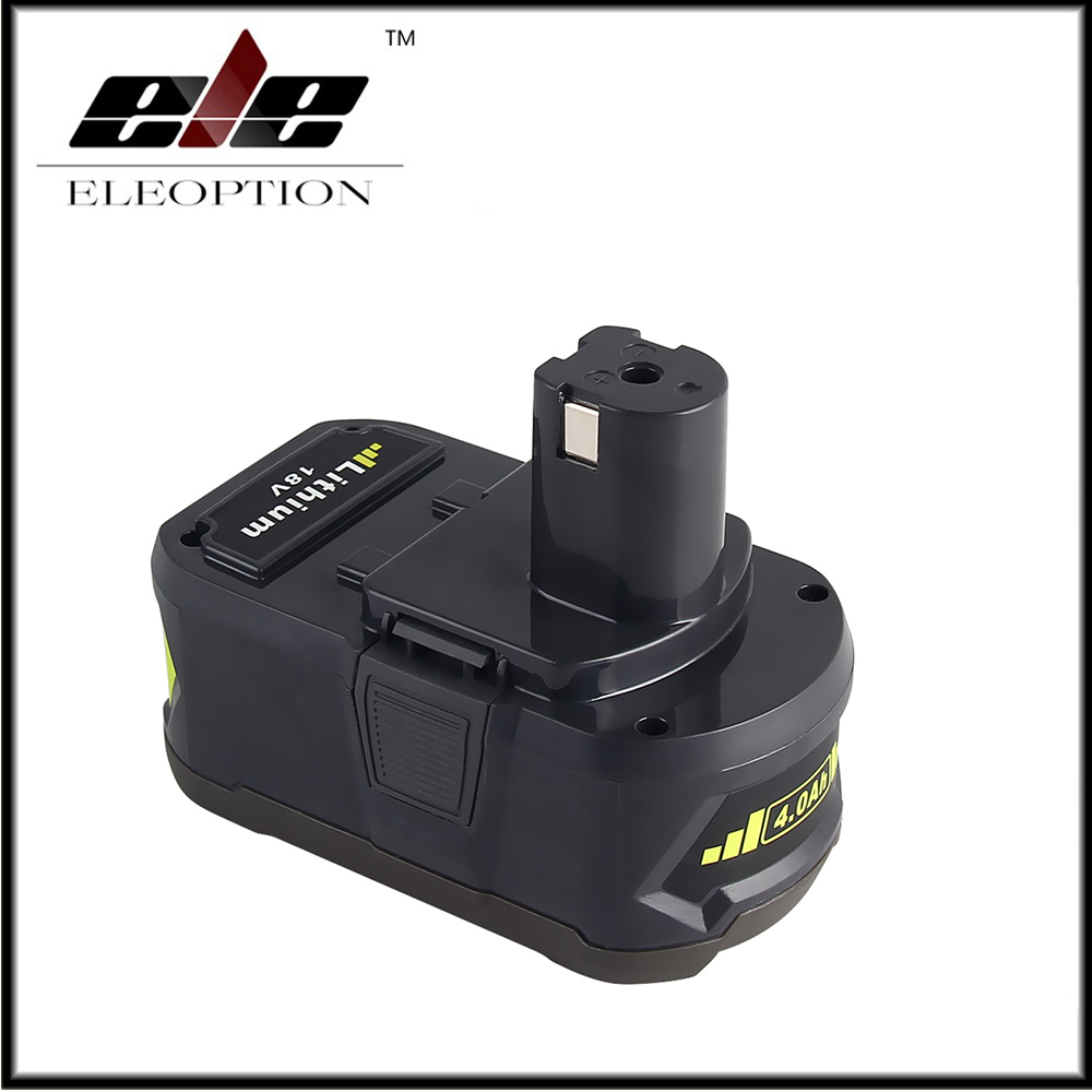 Eleoption 18 V 4000 mAh Li-Ion pour batterie Rechargeable Ryobi P108 RB18L40 batterie outil électrique pour Ryobi pour un +