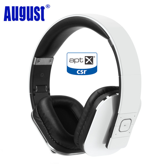 August EP650 Bluetooth Headphones with Mic Over Ear Stereo Bluetooth 4.1 Headset aptX Wireless Headphones for TV,Phone - White