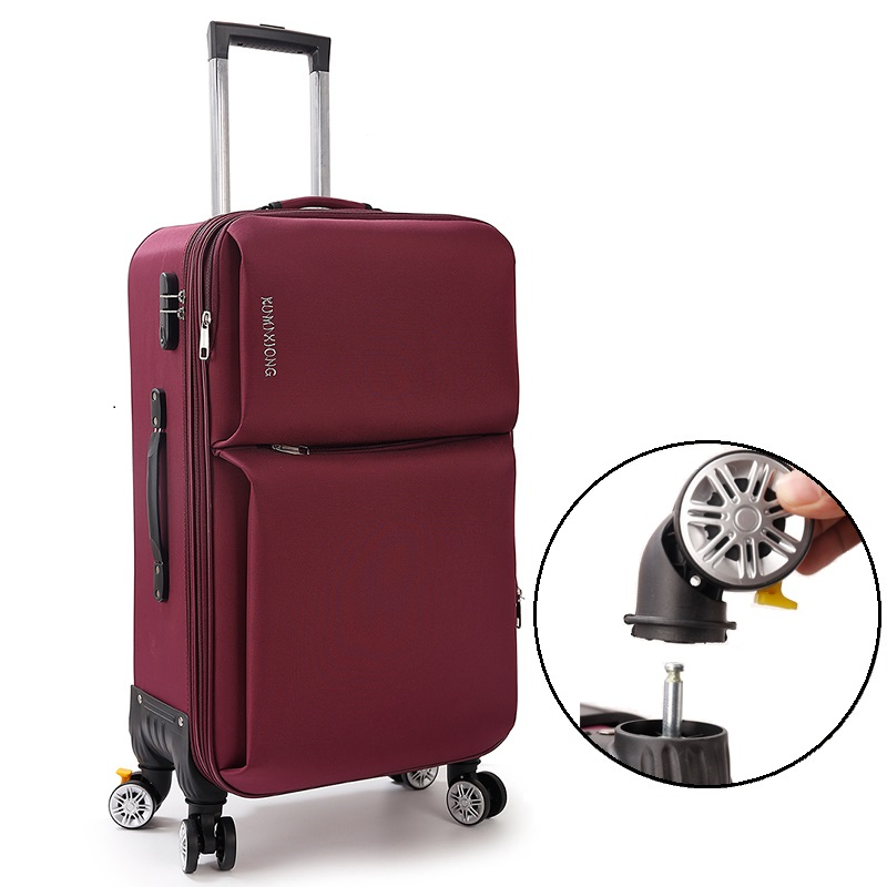 Universal wheels trolley luggage canvas travel bag small soft the box20 22 24 26 canvas bags,braked universal wheels luggage bag