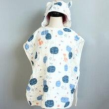 6 camada criança com capuz manto ultra macio superabsorvente musselina gaze crianças toalha de banho impressão gaze toalha de praia bebê meninas bab