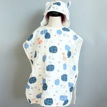 6 layer Child Hooded Cloak Ultra soft Superabsorbent Muslin Gauze Infants Bath Towel Printing Gauze Beach Towel  Baby  Girls Bab