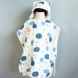 Image 1 - 6 layer Child Hooded Cloak Ultra soft Superabsorbent Muslin Gauze Infants Bath Towel Printing Gauze Beach Towel  Baby  Girls Bab