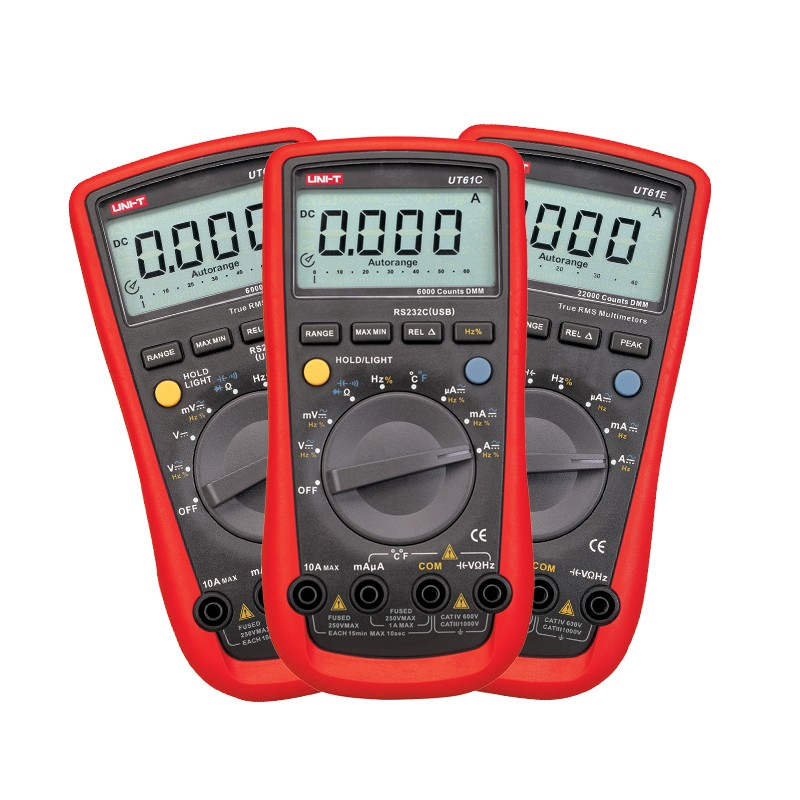 Digital Multimeters UNI-T UT61C UT61D UT61E Meters LCD Backlight & Data Hold Multitester AC&DC Current Voltage Diagnostic-tools professional uni t 2000a auto range data hold lcd backlight digital clamp meters multitester ut220 megohmmeter