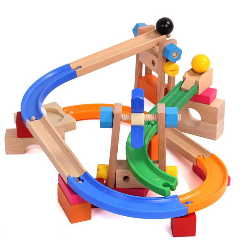 Roller coaster wooden track toys Ball track Building block Assembly kit Kids educational puzzle toys for Children 's Day Gifts solar powered roller coaster model kit educational toy