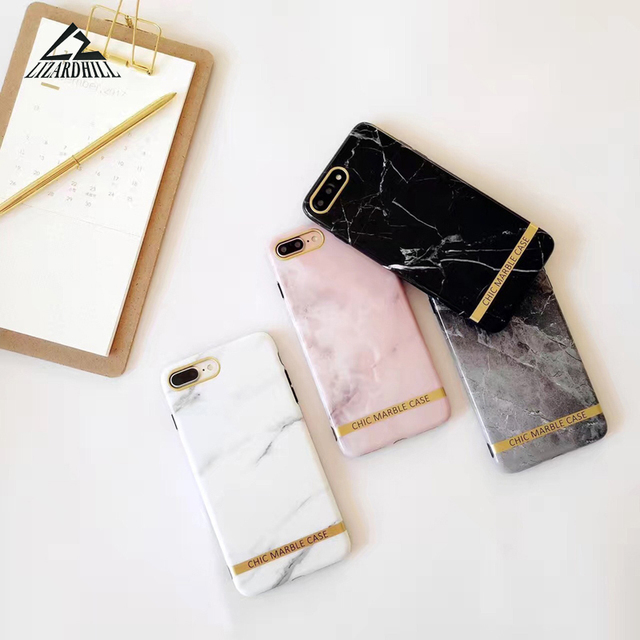 Lizardhill Luxury Fashion Marble soft silicone case for iPhone 7 coque For Iphone 6 6s 7 6plus X Covers fundas for iphone 8 plus