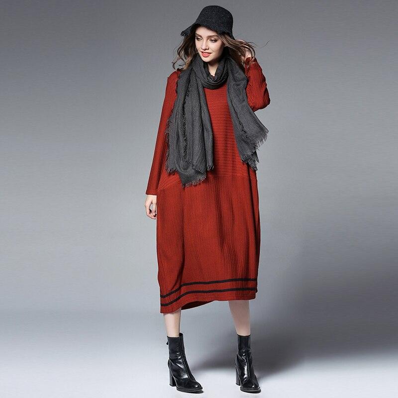 Wool Knitted Long Sweater Dress Women2017 Autumn Winter Sweater Dress Pullovers Casual Knitted Dresses Thick Knitwear Plus size