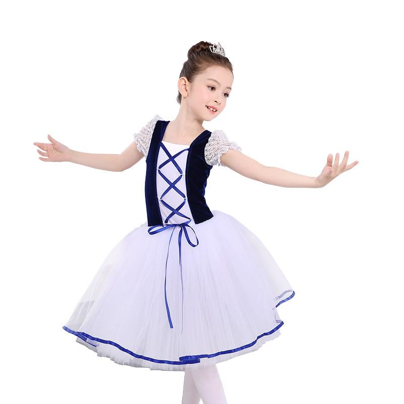 6bb4e1c8b Short Sleeve Lace Romantic Tutu Giselle Ballet Costumes Child Girls ...