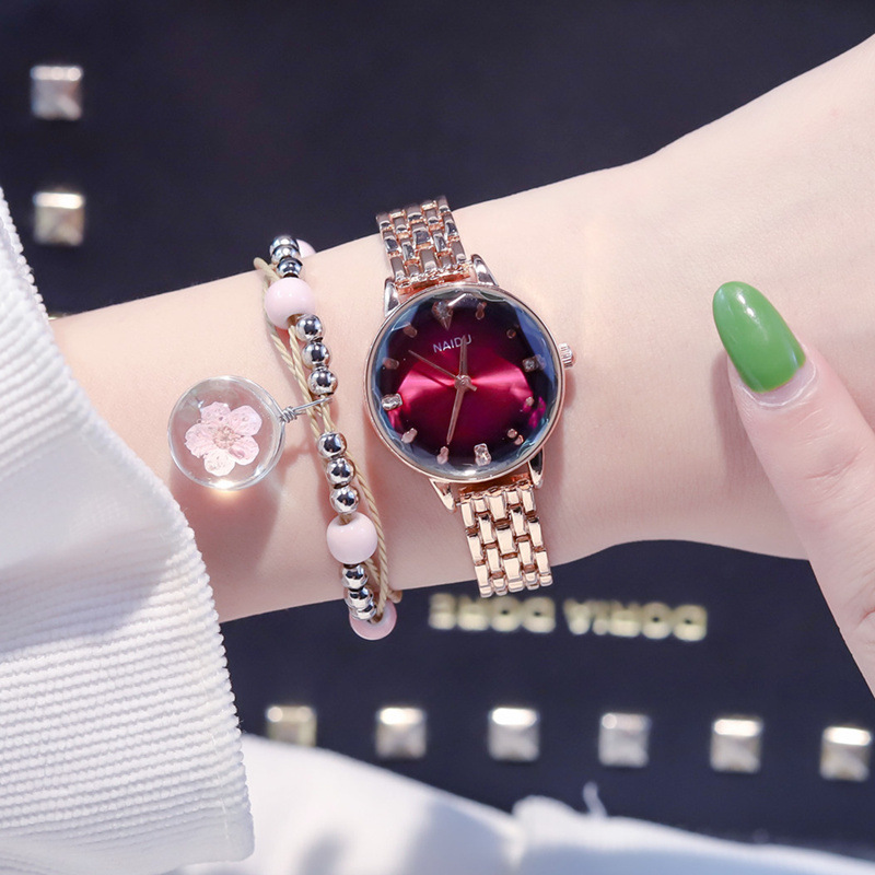 Women Wrist Watches For Ladies Alloy Rose Gold Women's Red Green Bracelet Watches Luxury Brand Starry Sky Female Clock 2019 Gift