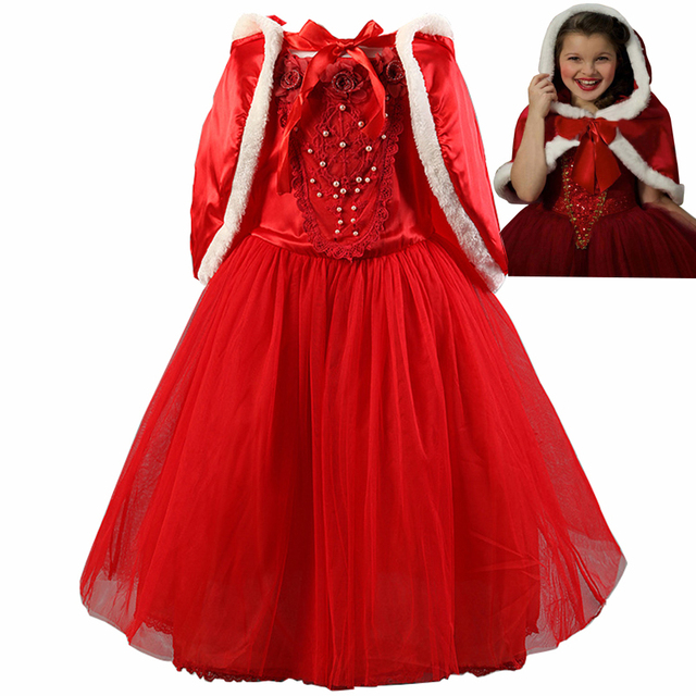 outstanding red christmas dress for kids baby girls princess dresses cinderella cosplay costume party dress sweet - Red Christmas Dresses