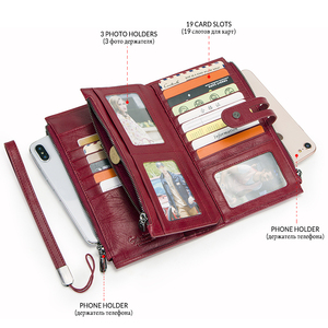 Image 4 - الهاتف المحمول حقيبة صغيرة للسيدات جلد طبيعي النساء الهاتف محافظ كبيرة حمراء سستة محفظة نسائية للعملات المعدنية حامل بطاقة ثلاثية أضعاف محفظة طويلة