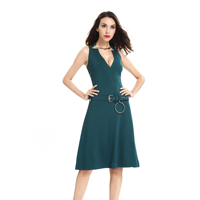 acd31e937171 Aletterhin Girls Belted Ball Gown Dresses Women V-neck Office Work Vestido  2018 Summer Lady Club Party Business Skater Dress