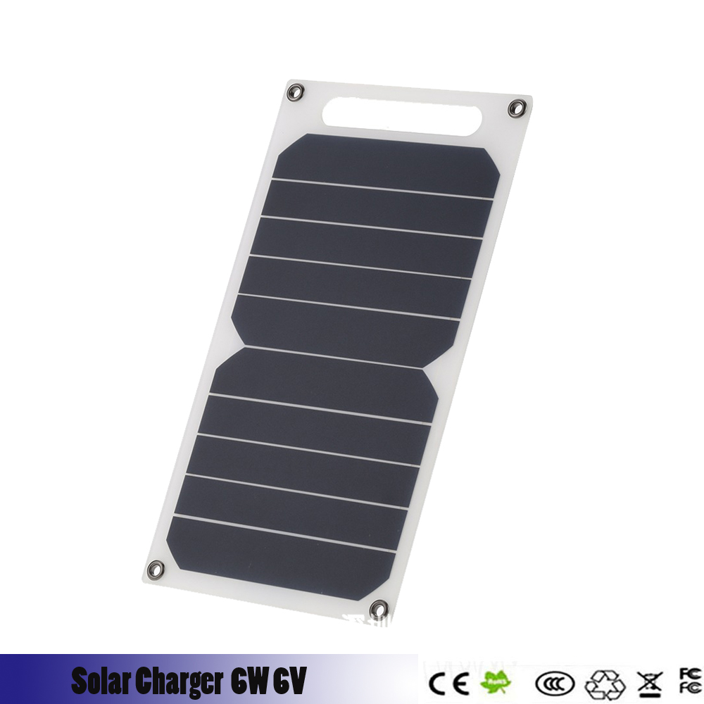 6W 6V Waterproof Solar Power Panel External Backup Battery Charger Outdoor For Cell Phone Battery Charger Charging