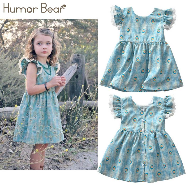 Humor Bear Girls Dresses 2018 Summer New Style European and American Style Girl Cotton Dress baby girl clothes