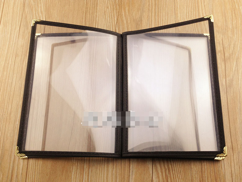 A5 6 sheets menu PVC menu cover transparent menu holder book 12 pages brown genuine leather menu holder restautant menu cover money receipt high quality accept customized order print your own logo