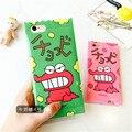 Sapo dos desenhos animados Crayon Shin Chan tampa Do Telefone doces boca grande dinossauro case para iphone 6 6 s 6 plus 6 s mais bonito macio do silício shell