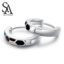 SA SILVERAGE 925 Sterling Silver Green/White/Black Three Colors Square Hoop Earrings for Woman 925 Silver Snake Earrings 2019 цена