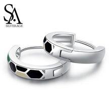 Женские квадратные сережки кольца sa silverage в виде змеи из