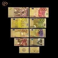 Wr الملونة الذهب اليورو النقود الورقية 8 قطع مجموعة رقائق الذهب الأوراق النقدية مع بطاقة شهادة ل هدية عيد