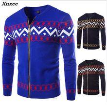 2018 New Mens Sweaters Autumn Winter Warm Cashmere Wool Zipper Pullover Man Casual Knitwear Men Xnxee