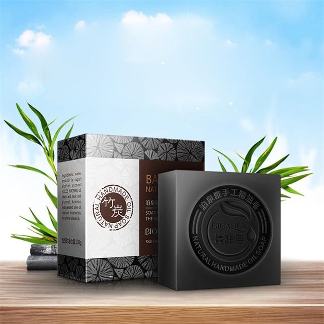 BIOAQUA Natural Plant Essential Oil Handmade Soap Whitening Moisturizing Remove Acne Clean Bath Soap Bamboo Charcoal Soap 100g 1