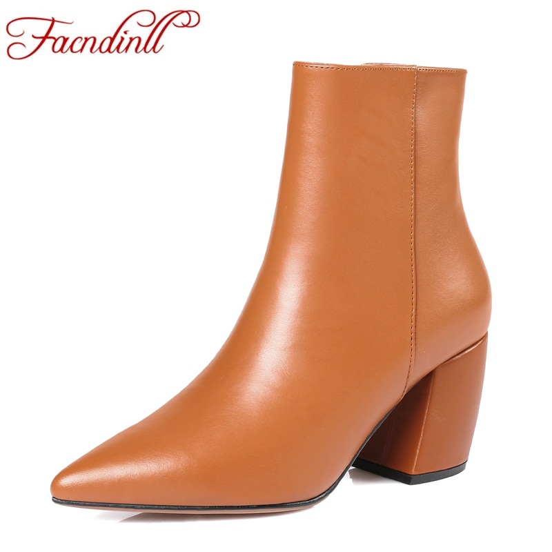 FACNDINLL high qulaity genuine leather ankle boots for women fashion high heels zipper black ladies office dress riding boots
