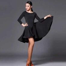 Новинка, платье для латинских танцев, женское, короткий, длинный рукав, черное, Танго, Румба, Бальные, модные, современные, сальса, ча-ча, юбка для латинских танцев