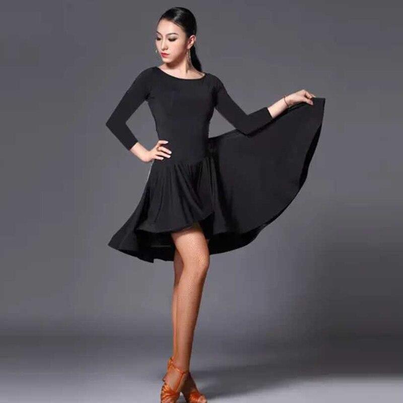 2019 New Latin Dance Dress Women Short Long Sleeve Black Tango Rumba Ballroom Fashion Modern Salsa Cha Cha Latin Dance Skirt