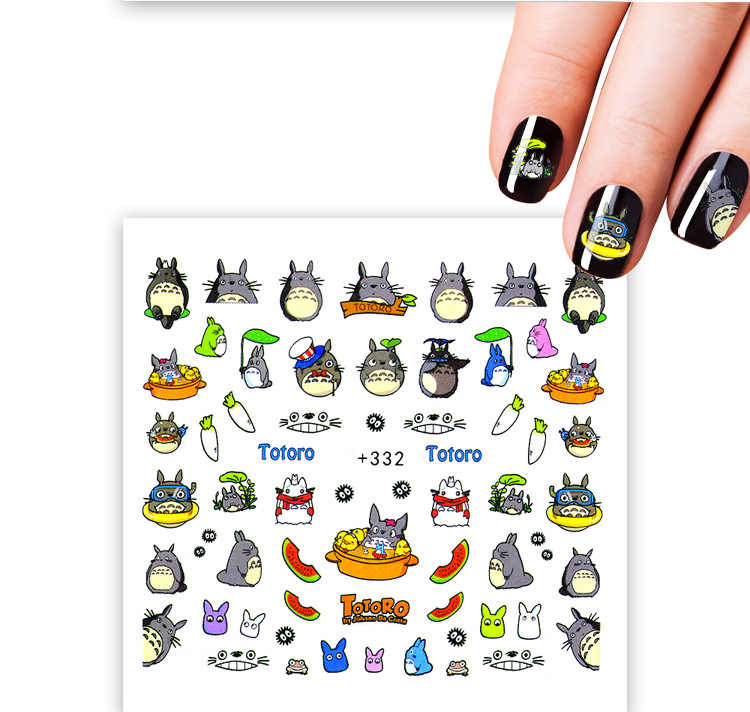 stickers on nails rabbit Totoro art decoration slider adhesive Water Transfer decals manicure lacquer accessoires polish foil