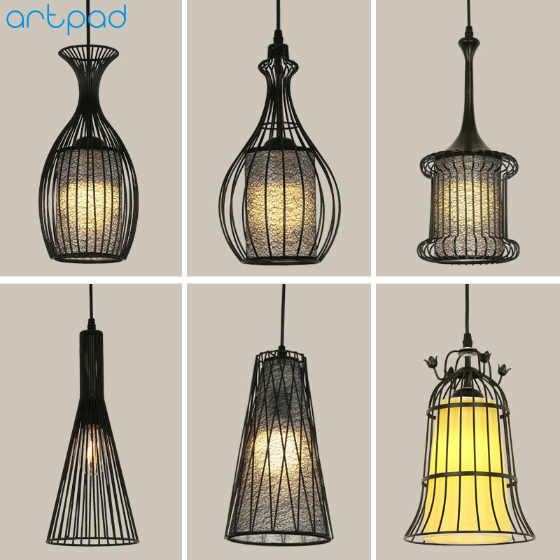 Artpad White Black Modern Design Metal Pendant Lights for Dining Room Kitchen E27 Base Bird Cage Retro Pendant Lamp Bar Light vintage birdcage crystal chandelier lighting black rustic bird cage pendant hanging light chandeliers lamp for dining room bar