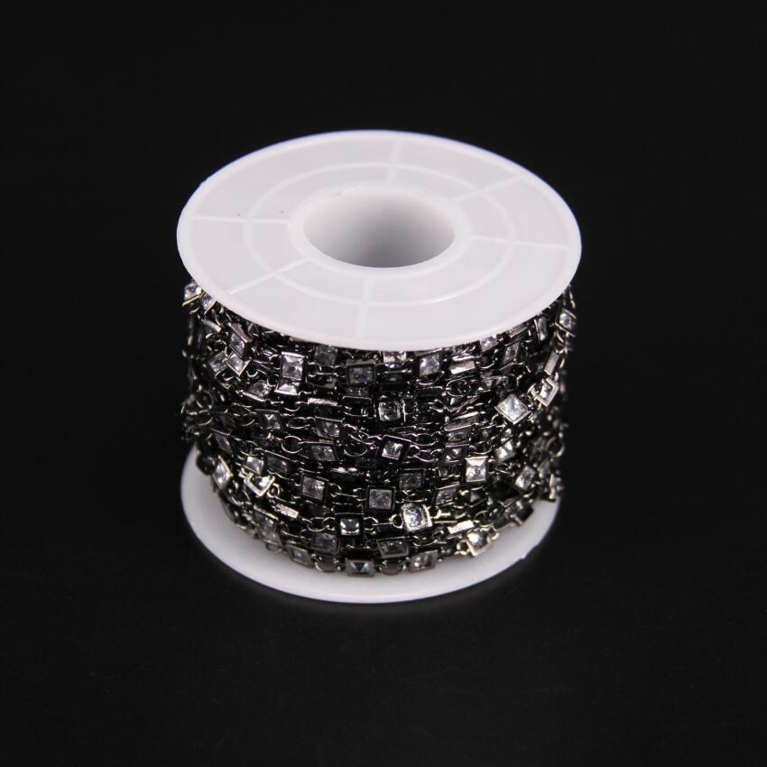 3mm, facetté carré Zircon lien métal chaîne noire, blanc cubique Zircon cristal lunette connecteur chapelet chaîne, CZ pistolet noir boucles d'oreilles - 2