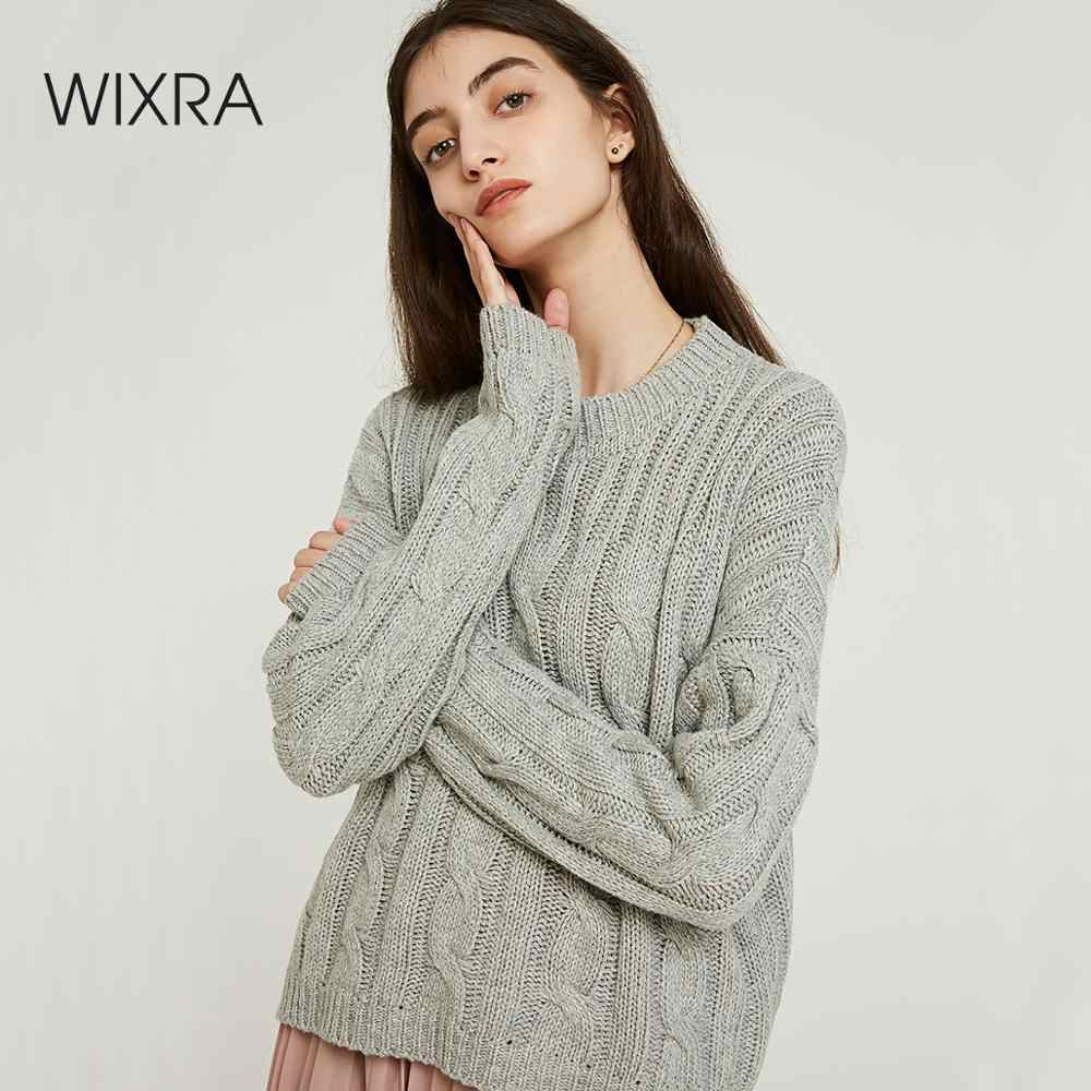 Wixra Women Solid Knitted O Neck Sweater And Pullover Autumn Winter Basic Pull Femme Tops Womens Clothing